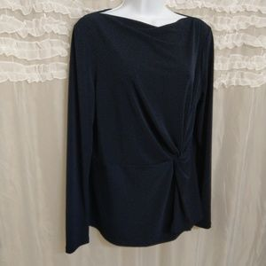 Ann Taylor Large Navy Knotted Career Blouse Top